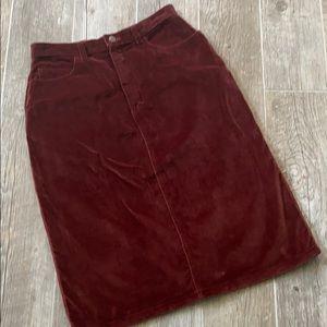 Vintage Kasper Red Clay 100% Cotton Midi Skirt
